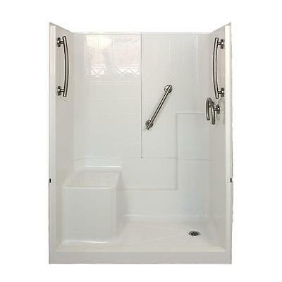 "ELLA'S BUBBLES Freedom 32""x60""x77"" 3-Piece Low Threshold Shower Stall Br Nickel"