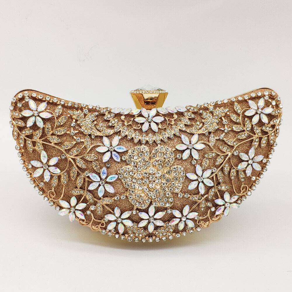 Banana Shape Women Flower Evening Bags Crystal Clutch Weddin