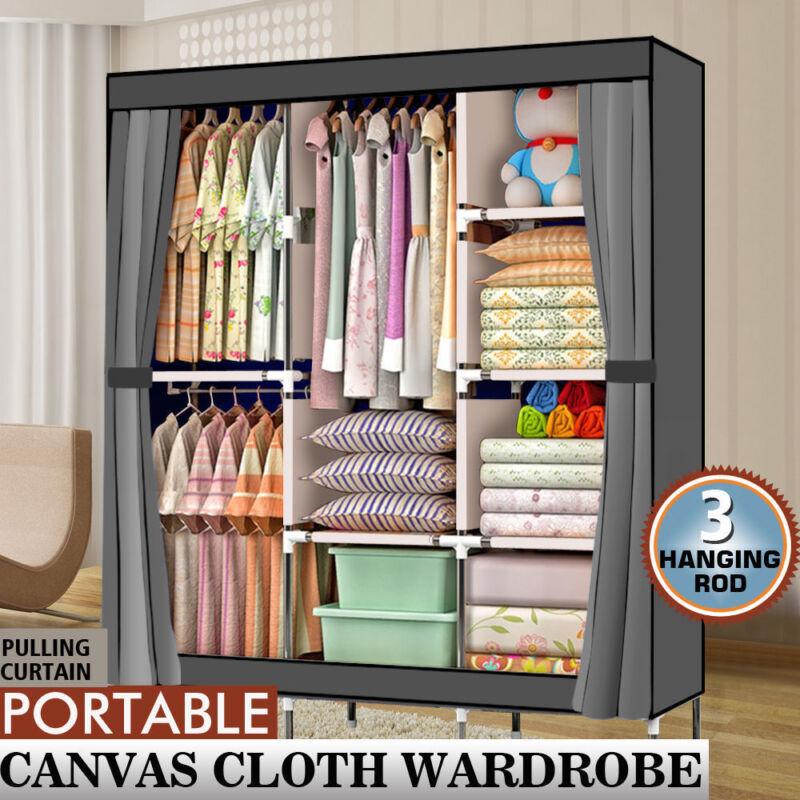 "71"" Portable Closet Wardrobe Clothes Rack Storage Organizer with Shelf Gray"