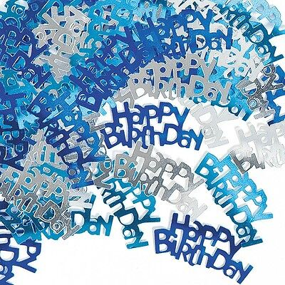 Blue & Silver Sparkle Happy Birthday Confetti Foil Sprinkles
