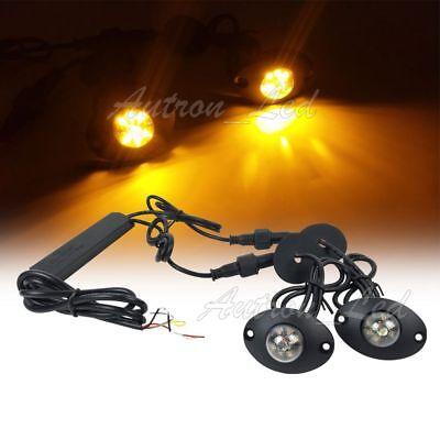 2in1 Hide Away Amber 12w Led Patrol Emergency Beacon Warning Side Strobe Lights