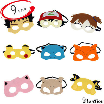9-Pack Felt Anime Monster Masks for Kids - Pocket Creatures - Ships from USA!