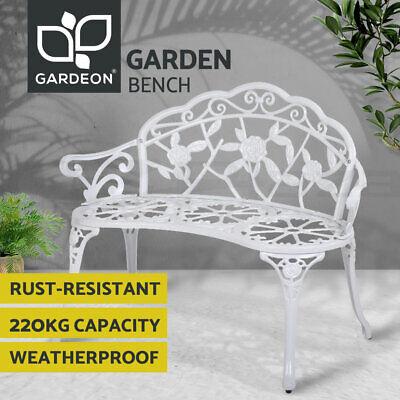 Garden Furniture - Gardeon Outdoor Garden Bench Seat Cast Aluminium Park Patio Lounge Chair White