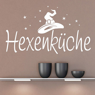 he mit Zauberhut und Sterne Küchendeko KLEBEHELD® (Hexe Hut Tattoo)