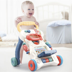 2 In 1 First Steps Baby Walkers Sounds Music and Lights Fun Push Along Walker