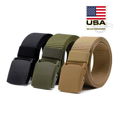 Men's Plastic Cam Buckle Nylon Canvas Tactical Waistband Webbing Military Belt