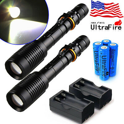 2 x Ultrafire 80000Lumen Tactical T6 LED Flashlight Torch+18650 Battery +Charger