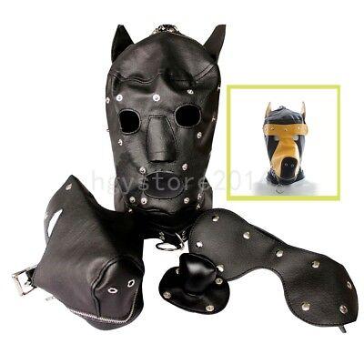 PU Leather Dog Puppy Hood Mask Reenactment Mouth Gag Costume Dog Full Mask - Dog Mask Leather