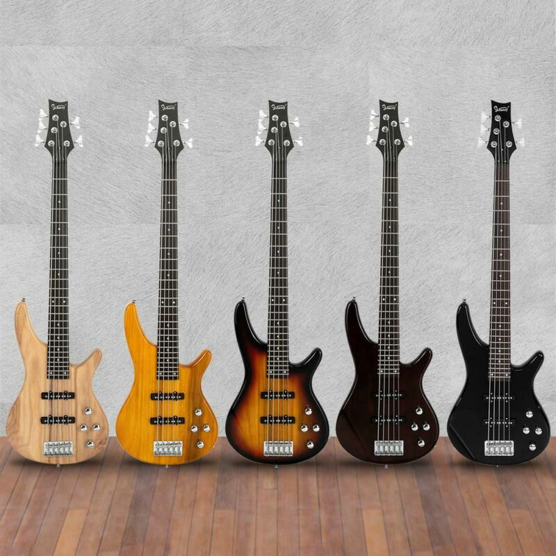 New  Black Wood Sunset Glarry GIB Electric 5 String Bass Guitar Full Size Bag