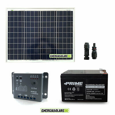 Kit Panel solar fotovoltaico placa 50W 12V Batería AGM 24Ah regulador 5A