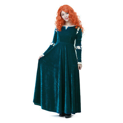 Princess Merida Brave Cosplay Costume Adult Dress Women Outfit