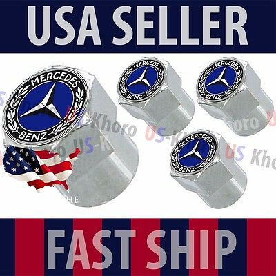 Mercedes Benz MB Blue Logo Valve Stem Caps Covers Chromed Roundel Emblem Tire US