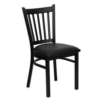 Black Vertical Back Metal Restaurant Chair - Black Vinyl Seat