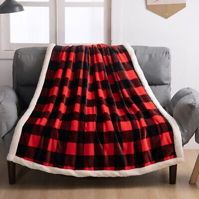 Christmas Blanket Microfiber Fleece Plaid Sherpa Holiday Throw for Couch Sofa