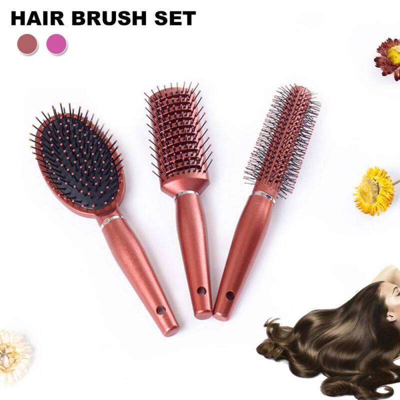 3pcs Professional Hair Brush Set Comb Paddle Round Styling M