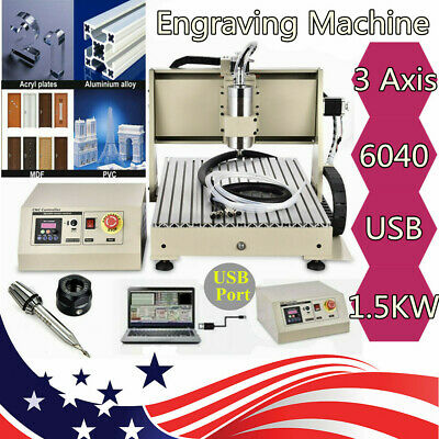 Usb 3 Axis 6040z Cnc Router Engraving Miller Machine Wood Cutting Machine 1500w