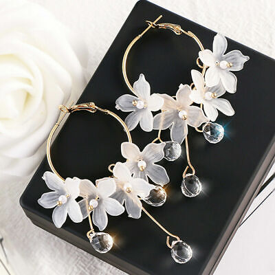 Drop Earrings Crystal Tassel Dangle Acrylic Flower Women Jewelry Accessories NEW