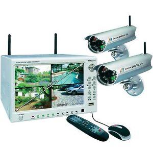 Funk Video-Überwachungsanlage 4-Kanal DVR74W Set 500GB 2x Digital-Kameras