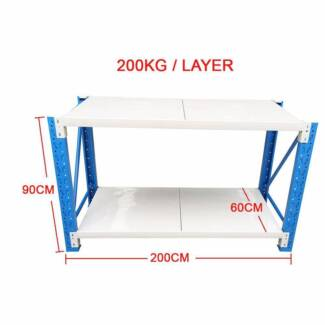 2x0.9M Steel Garage Warehouse RackShelves Work Bench Shelf