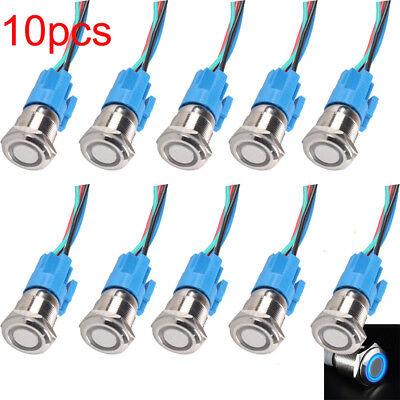10pcs 16mm Car Blue LED Light Angel Eye Metal Push Button Switch Socket 12v