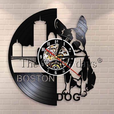 Boston Terrier Dog Wall Clock Pug Pet Shop Dog Breeds Retro Vinyl Record Clock