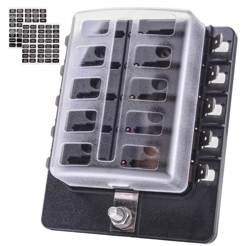 Universal LED Illuminated Automotive Blade Fuse Holder Box 10-Circuit Fuse Block