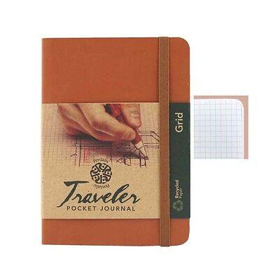 Travelers Pocket Journal Grid 4x6 Brown