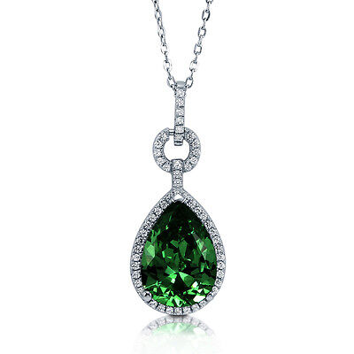 BERRICLE Sterling Silver Pear Cut Simulated Emerald CZ Halo Pendant Necklace
