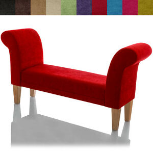 New fabric bench chaise lounge longue small bedroom chair for Small fabric chair