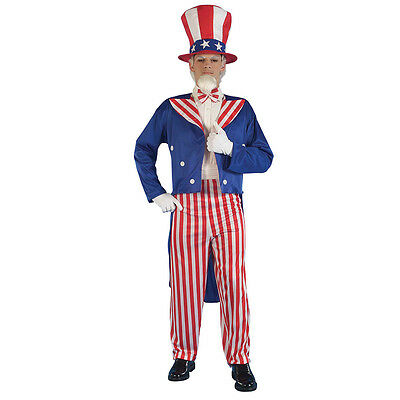 Uncle Sam USA Adult Mens Fancy Dress One Size Complete Outfit