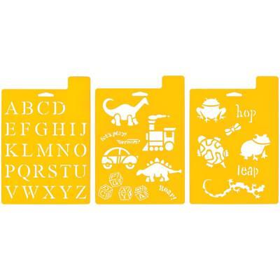 SET OF 3 Stencil Sheets PLAYTIME Stencils Kids Dinosaur Frog Turtle Letters