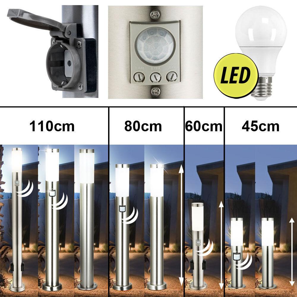 LED Außen Steh Lampe Steckdose mit Bewegungsmelder Haus Garten Edelstahl Leuchte