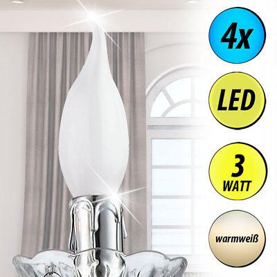4x LED 3 Watt Kerzen Flammen Leuchtmittel E14 Birne 220 Lumen Beleuchtung