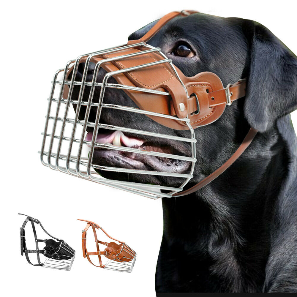 Anti Bark Bite Chew Dog Muzzle Metal Wire Basket Adjustable for ...