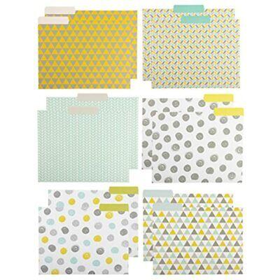 File Folders - 12-pack Decorative Folders 6 Geometric Colorful Designer Letter