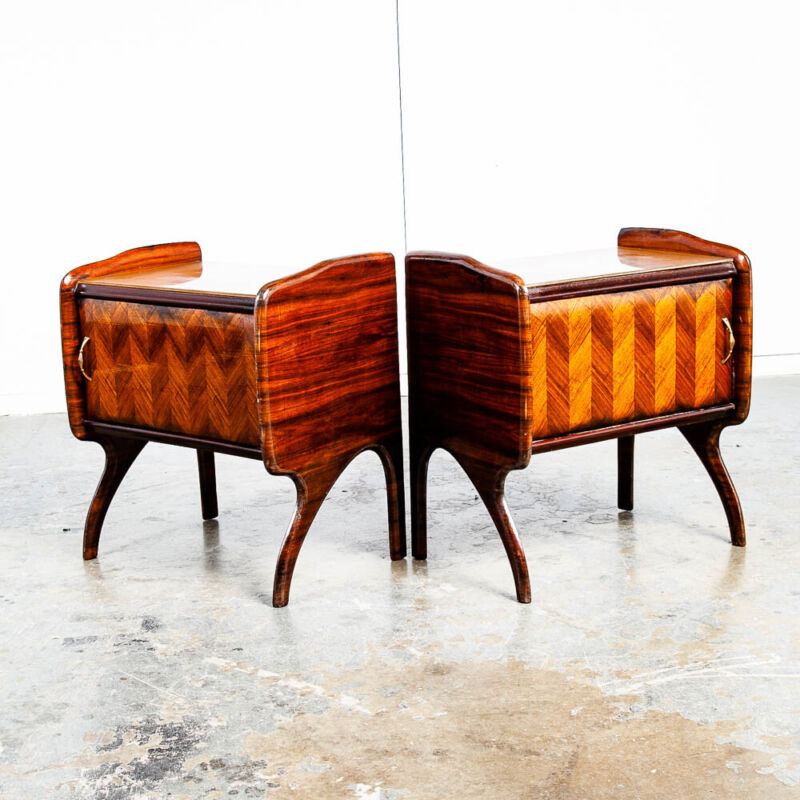 Mid Century Danish Modern Nightstands End Side Tables Teak Dark Wood Italian Mcm