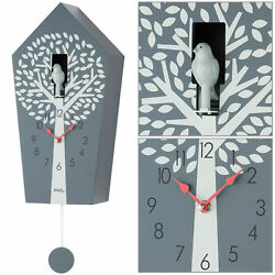 AMS Quartz Wall Clock with Pendulum Cuckoo clock grey New