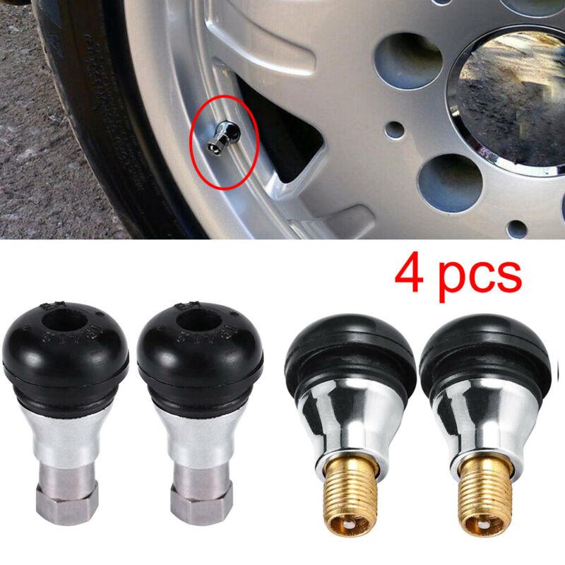 4PCS Chrome Plating Black Rubber Wheel Tire Valve Stems Complete w// Chrome Caps