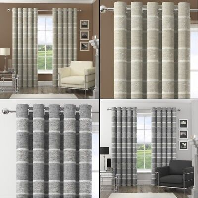 Harlem Striped Sequin Eyelet Ring Top Fully Lined Curtains - Natural Silver (Natural Lined Curtains)