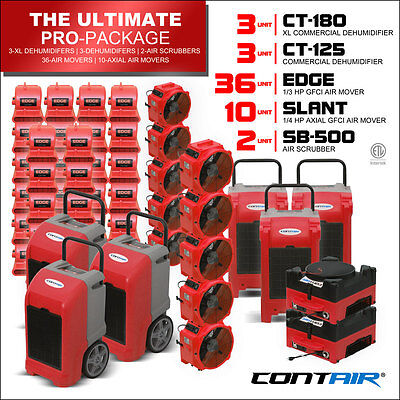 Water Damage Industrial Dehumidifiers and Air Movers and Air Scrubbers in Red