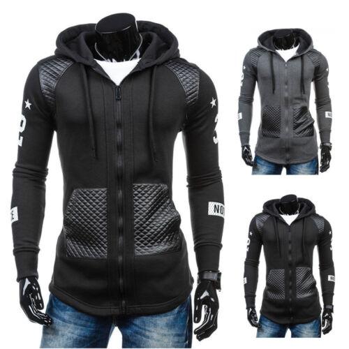 Men's Zip Up Hoodie Slim Fit Hooded Sweatshirt Jacket Pocket