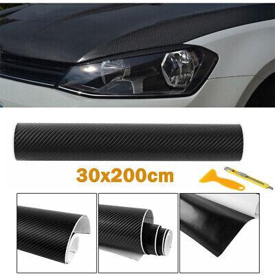 4D Carbon Folie selbstklebend Car Wrapping Folie Autosticker 30 X 200cm Schwarz