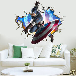 Captain America Marvel Avengers Wall Stickers Kids Room Decor Decal Super Hero