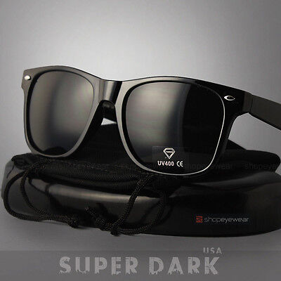 MEN Sunglasses Wayfarer Style Black Frame Classic Super Dark Lens NEW