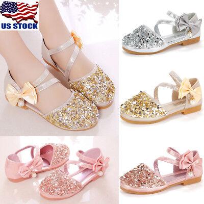 Kids Girls Glitter Wedding Party Buckle Princess Sandals Bridesmaid Shoes
