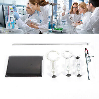 Lab Retort Stands Clamp Bracket 2 Rings Platform Chemistry Bottle Tube Durable