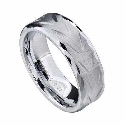 8mm White Tungsten Matte Top V Cut Facet Edge Men's Jewelry Wedding Band Cut Tungsten Wedding Ring