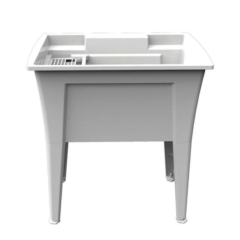 Heavy Duty Garage Utility Laundry Sink 32 In. x 22 In. Polypropylene White New