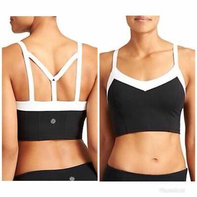 Athleta Exertion Bralette Bra Workout Yoga | Black/White  M Medium NWT