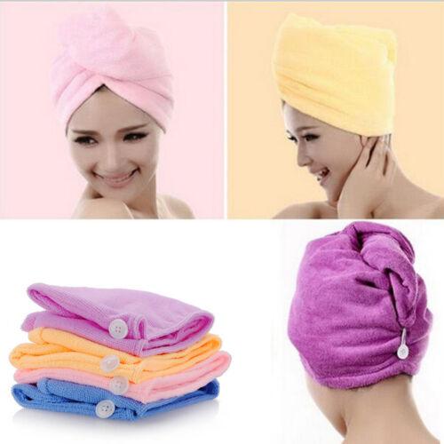 Damen Herren Haarturban Kopftuch Mikrofaser Kopfhandtuch Schnell Trocknend Knopf